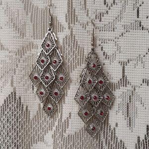 VTG Silver W/Violet Red Stone Dangle Earrings